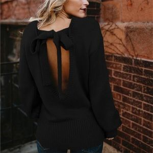 Sweaters - 🍁Camryn • Sexy Open Tie Back Sweater • Black 🍁
